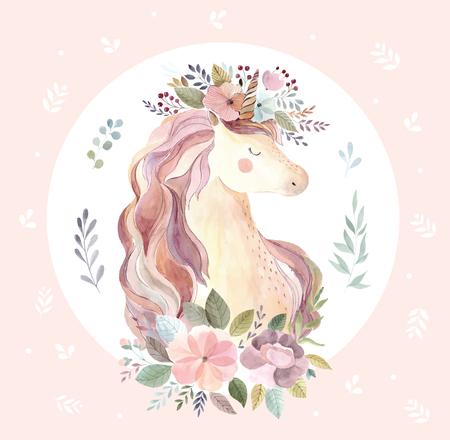 Illustrazione d'epoca con unicorno carino Vettoriali