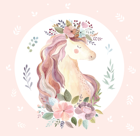 Vintage illustration with cute unicorn Stock Illustratie