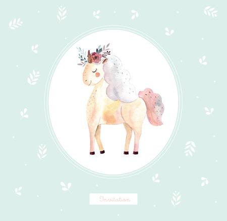 Vintage illustration with cute unicorn Foto de archivo - 105781921