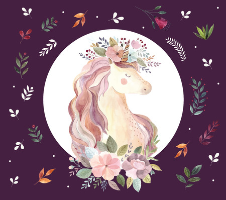 Vintage illustration with cute unicorn Foto de archivo - 105781922