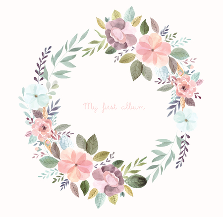 Watercolor illustration with floral wreath Foto de archivo - 105781924