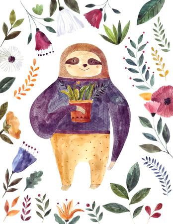 Watercolor illustration with cute sloth Foto de archivo - 105781926