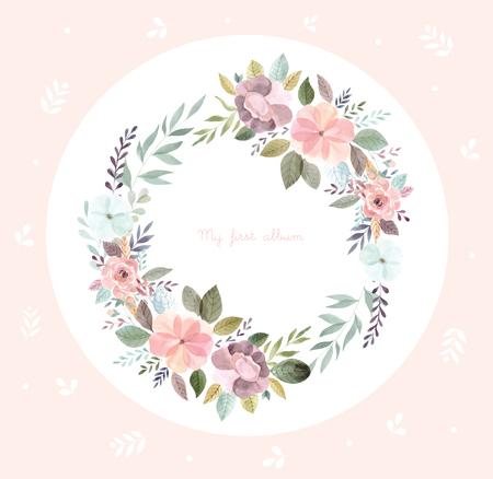 Watercolor illustration with floral wreath Foto de archivo - 105781927