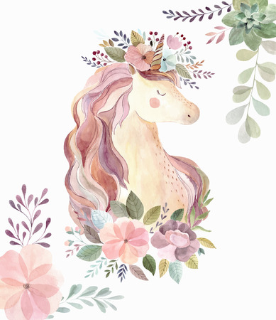 Vintage illustration with cute unicorn 일러스트