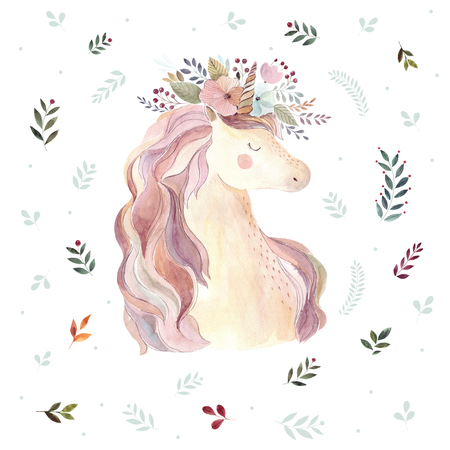 Vintage illustration with cute unicorn Foto de archivo - 106644278