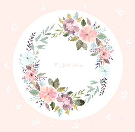 Watercolor illustration with floral wreath Foto de archivo - 106232367