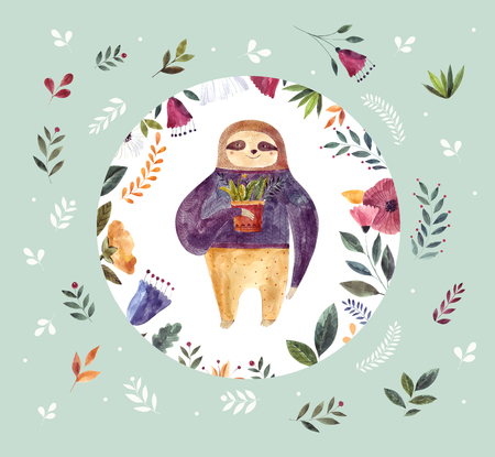 Watercolor illustration with cute sloth Foto de archivo - 106232368
