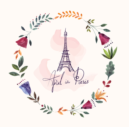 Vector hand drawn illustration with Eiffel tower and floral wreath Foto de archivo - 106232369