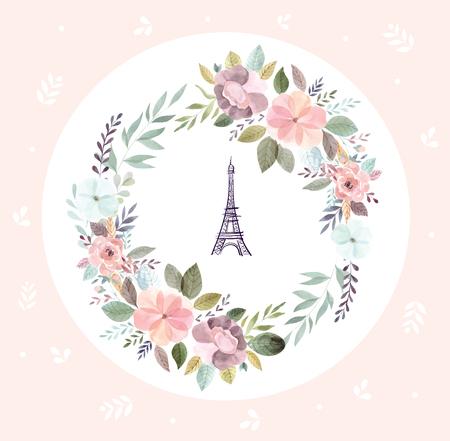 Illustrazione disegnata a mano di vettore con la Torre Eiffel e la corona floreale Vettoriali