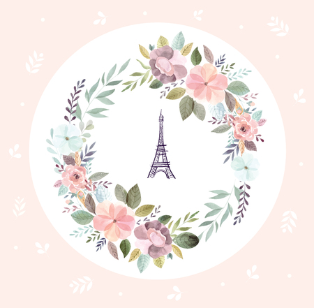 Vector hand drawn illustration with Eiffel tower and floral wreath Ilustração