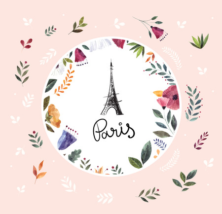 Vector hand drawn illustration with Eiffel tower and floral wreath Foto de archivo - 106232371