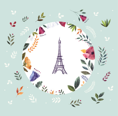Vector hand drawn illustration with Eiffel tower and floral wreath Foto de archivo - 106232374