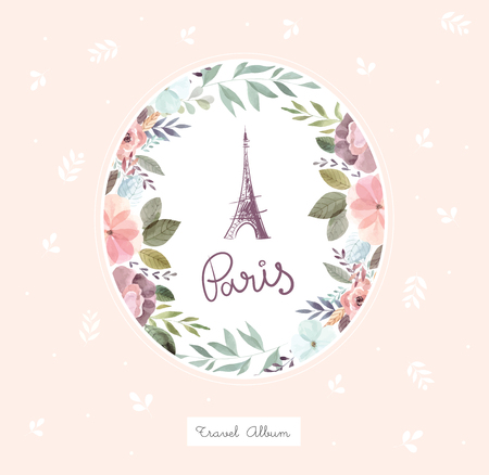 Vector hand drawn illustration with Eiffel tower and floral wreath Foto de archivo - 106232375