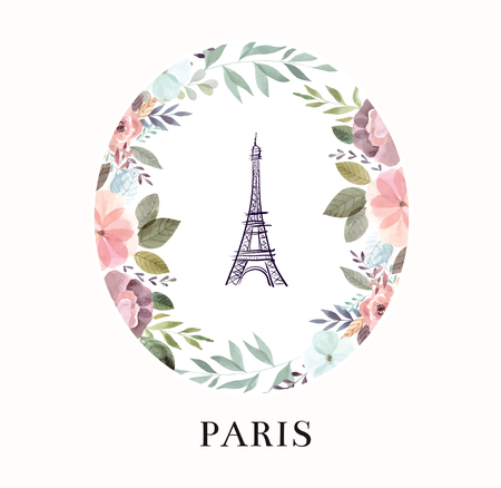 Vector hand drawn illustration with Eiffel tower and floral wreath Foto de archivo - 106232376