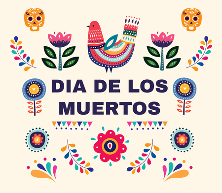 Beautiful vector illustration with design for Dia De Los Muertos. Mexican holiday Day of the Dead Foto de archivo - 106232378