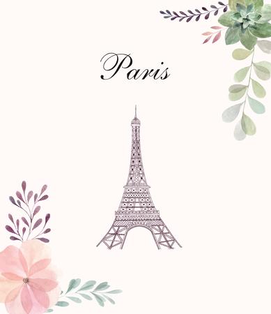 Vector hand drawn illustration with Eiffel tower Foto de archivo - 106232379