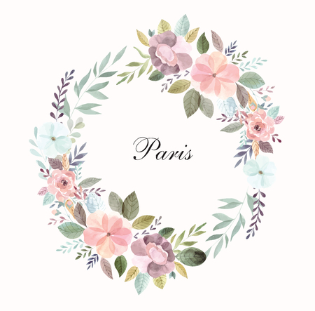 Hand drawn illustration with floral wreath
