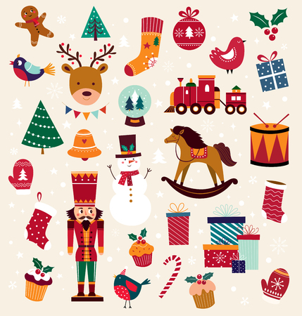 Collection of traditional Christmas decorative elements
