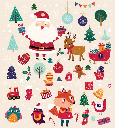 Collection d'éléments traditionnels de Noël