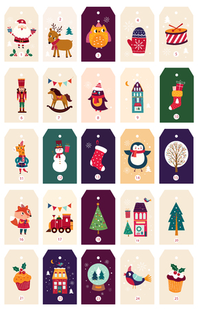 Collection of Christmas tags Banque d'images - 111480998