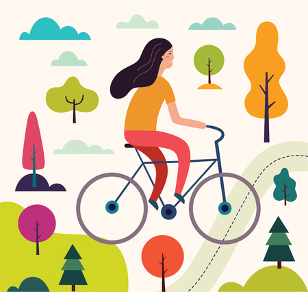 Girl on the bicycle Ilustracja