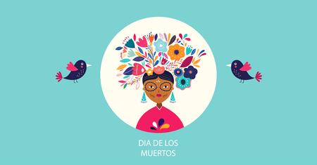 Dia de los muertros. Vector template with mexican woman