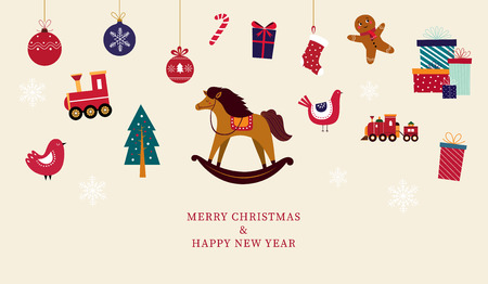 Christmas greeting card with toys. Christmas sale