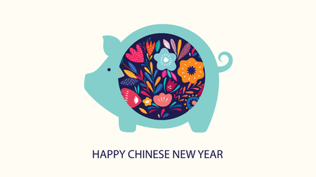 New Year greeting illustration with cute pig. Chinese New Year greeting banner.