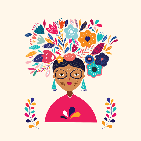 Beautiful  illustration with Mexican woman Standard-Bild - 114467116