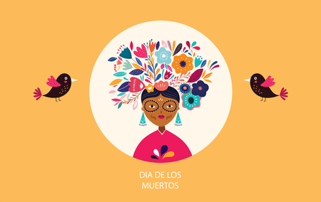 Dia de los muertros.  template with mexican woman Ilustrace
