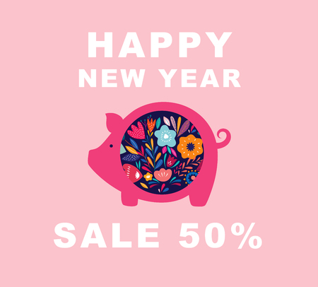 Vector New Year greeting illustration with cute pig. Chinese New Year greeting banner.