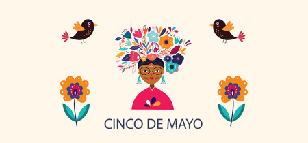 5 may Cinco De Mayo. Vector template with mexican woman