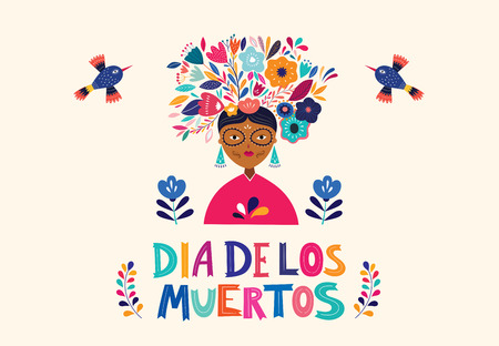 Dia De Los Muetros. Vector template with mexican woman Ilustrace
