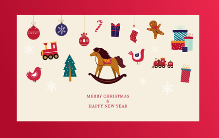 Christmas greeting card with toys. Christmas sale