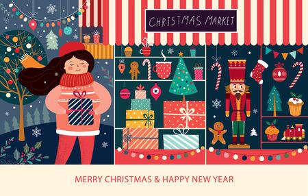 Vectorillustratie met meisje en kerstcadeaus. Kerstmarkt