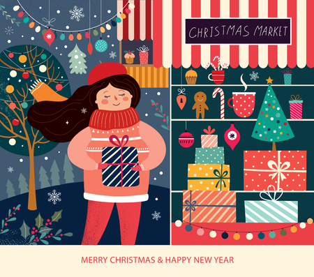 Vector illustration with girl and christmas gifts. Christmas Market Ilustrace