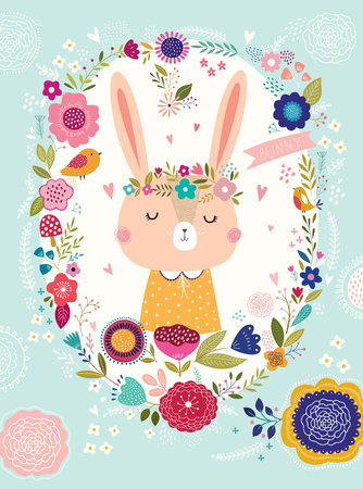Illustration with cute bunny and flowers