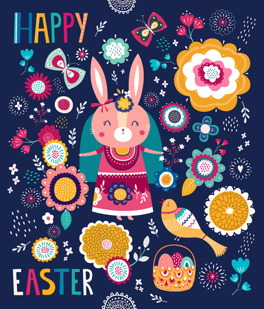 Illustration with cute bunny and flowers. Easter illustration Illustration