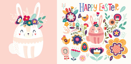 Vector illustration with cute bunny and flowers. Easter illustration