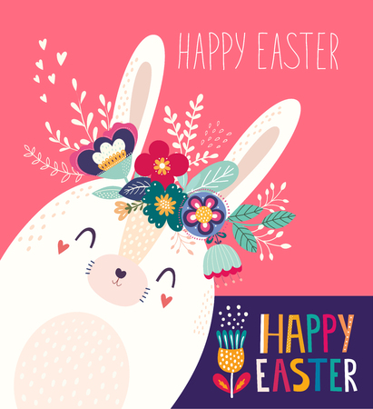 Vector illustration with cute bunny and flowers. Easter illustration Standard-Bild - 117175524