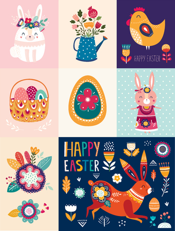Vector illustrations with cute bunny, Easter egg and flowers. Easter illustration