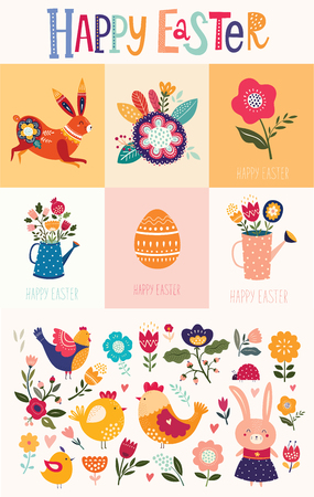 Vector collection of Easter greeting cards with cute bunny and flowers. Easter illustrations Ilustrace