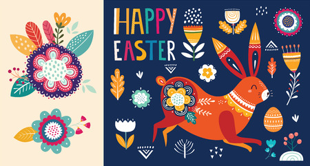 Vector illustration with cute bunny and flowers. Easter illustration Standard-Bild - 117175526