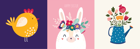 Vector illustration with cute bunny and flowers. Easter illustration Archivio Fotografico - 117175638