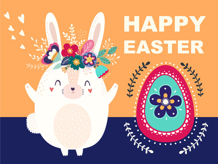 Vector illustration with Easter egg and cute bunny. Easter illustration Archivio Fotografico - 117175639