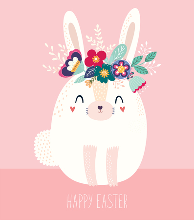 Vector illustration with cute bunny and flowers. Easter illustration Archivio Fotografico - 117175641