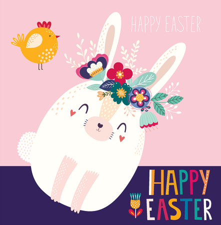 Vector illustration with cute bunny and flowers. Easter illustration Archivio Fotografico - 117175640