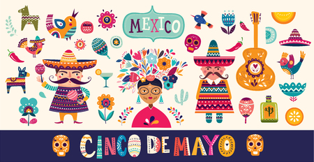 Mexican collection. 5 may Cinco De Mayo. Vector mexican pattern with mexican red skull, red pepper Standard-Bild - 117175647