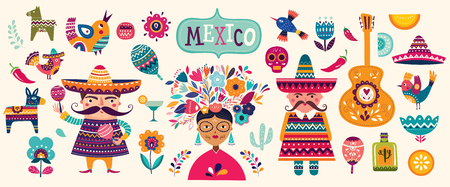 Mexican collection. 5 may Cinco De Mayo. Vector mexican pattern with mexican red skull, red pepper