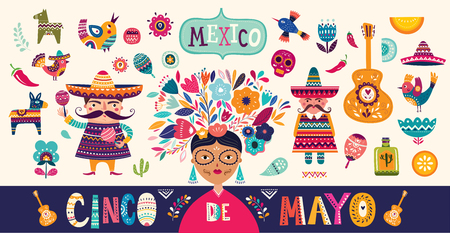 Mexican collection. 5 may Cinco De Mayo. Vector mexican pattern with mexican red skull, red pepper Archivio Fotografico - 117175642
